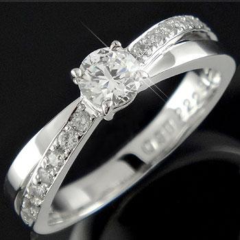 【送料無料】鑑定書付 エンゲージリング 婚約指輪 ダイヤモンド リング ダイヤ 0.42ct 一粒 大粒 VS 指輪 ホワイトゴールドk18 18金 ストレート レディース ブライダルジュエリー ウエディング 贈り物 誕生日プレゼント ギフト