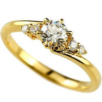 【送料無料】鑑定書付き 婚約指輪 エンゲージリング ダイヤモンド 一粒 大粒 ダイヤ 0.37ct  VS イエローゴールドk18 18金 ダイヤ ストレート レディース ブライダルジュエリー ウエディング 贈り物 誕生日プレゼント ギフト