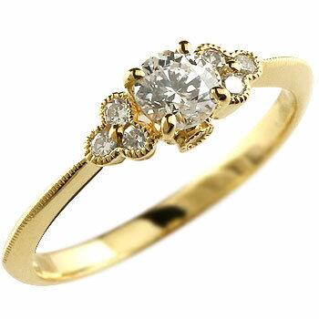 【送料無料】鑑定書付き 婚約指輪 エンゲージリング ダイヤモンド リング 指輪 イエローゴールドk18 大粒 ダイヤ VSクラス ミル打ち 18金 ストレート レディース ブライダルジュエリー ウエディング 贈り物 誕生日プレゼント ギフト