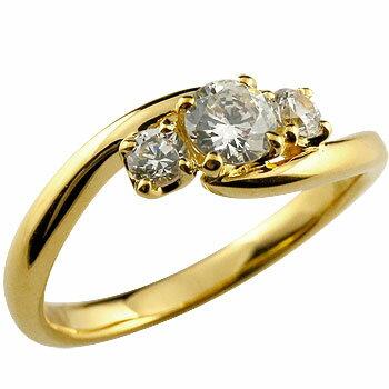 【送料無料】鑑定書付き 婚約指輪 エンゲージリング ダイヤモンド リング 指輪 ダイヤ スリーストーン トリロジー イエローゴールドk18 大粒 VSクラス 18金 レディース ブライダルジュエリー ウエディング 贈り物 誕生日プレゼント ギフト