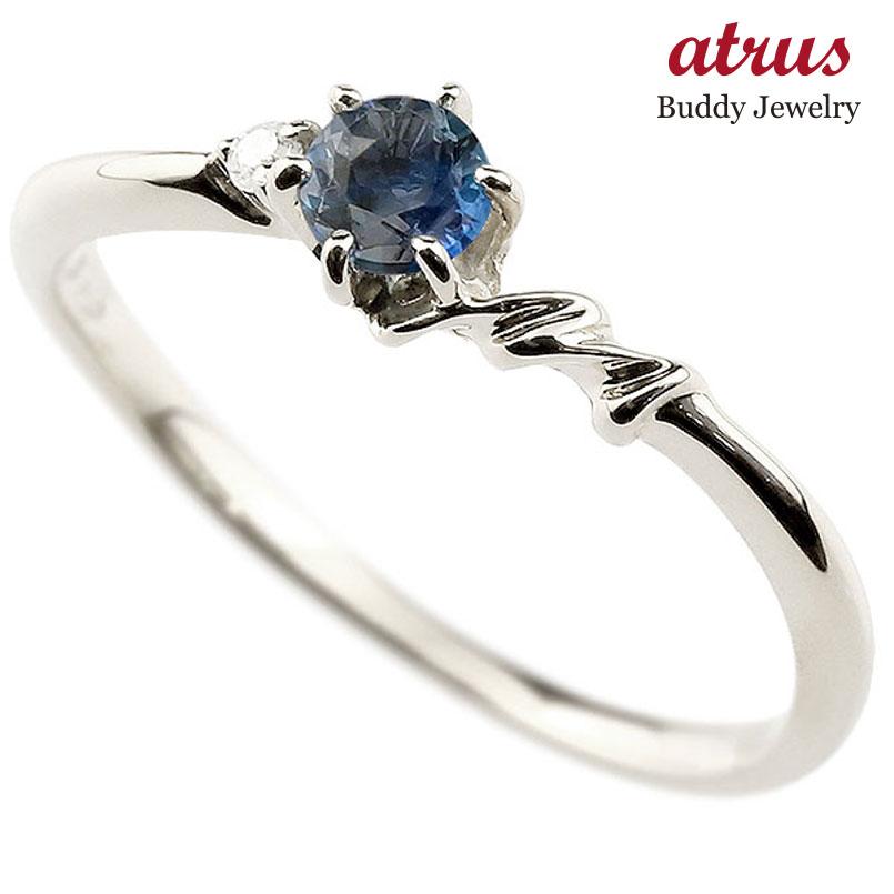 【送料無料】ピンキーリング エンゲージリング イニシャル ネーム M 婚約指輪 ブルーサファイア ダイヤモンド プラチナ 指輪 アルファベット レディース 9月誕生石 人気