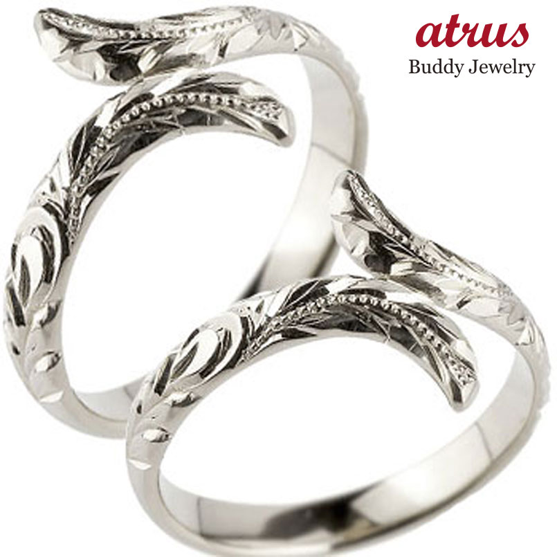 ハワイアン ペアリング 人気 結婚指輪 ミル打ち ホワイトゴールドk18 地金リング 18金 k18wg ストレート カップル 贈り物 誕生日プレゼント ギフト