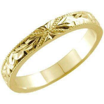 【送料無料】ハワイアンジュエリー ハワイアンリング ミル打ち 指輪 イエローゴールドk18 地金リング 18金 ストレート 贈り物 誕生日プレゼント ギフト