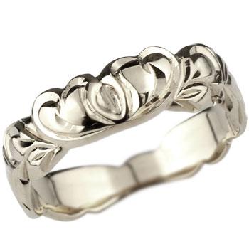 【送料無料】ハワイアンジュエリー ハート リング 指輪 ホワイトゴールドk18 ハワイアンリング 地金リング 18金 k18wg ストレート 贈り物 誕生日プレゼント ギフト