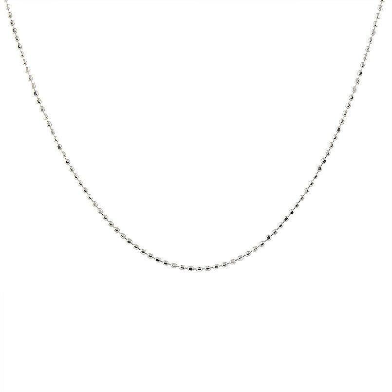 【送料無料】ネックレス ホワイトゴールドk14 ボールチェーン レディース 40cm 地金ネックレス 14金 贈り物 誕生日プレゼント ギフト