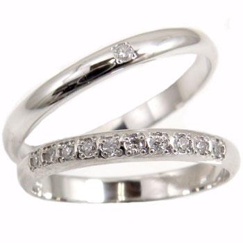 【送料無料】ペアリング ダイヤモンド プラチナ 結婚指輪 ハーフエタニティ マリッジリング 結婚式 ダイヤ ストレート カップル 2.3 贈り物 誕生日プレゼント ギフト