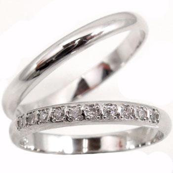 【送料無料】ペアリング ダイヤモンド ハーフエタニティ 結婚指輪 マリッジリング ホワイトゴールドk18 甲丸 結婚式 18金 ダイヤ ストレート カップル 2.3 贈り物 誕生日プレゼント ギフト