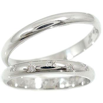 【送料無料】ペアリング 結婚指輪 マリッジリング ホワイトゴールドk18 ダイヤモンド 甲丸 結婚式 18金 ダイヤ ストレート カップル 2.3 贈り物 誕生日プレゼント ギフト