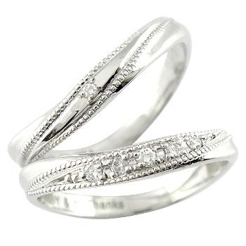 【送料無料】ペアリング ダイヤ ダイヤモンド 結婚指輪 マリッジリング ホワイトゴールドk18  ハンドメイド ミル打ち ミル 結婚式 18金 カップル 贈り物 誕生日プレゼント ギフト