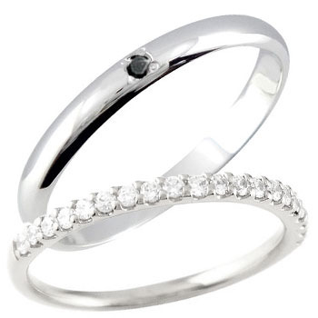 【送料無料】ペアリング 結婚指輪 マリッジリング プラチナ ダイヤモンド ブラックダイヤモンド ハーフエタニティ 一粒ダイヤモンド 結婚式 ダイヤ ストレート カップル 2.3 贈り物 誕生日プレゼント ギフト