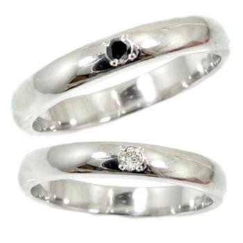 【送料無料】甲丸 ペアリング 結婚指輪 マリッジリング ダイヤモンド ブラックダイヤモンド ホワイトゴールドk18 一粒 結婚式 18金 ダイヤ ストレート カップル 贈り物 誕生日プレゼント ギフト