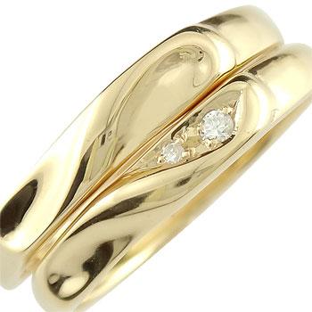 【送料無料】 ペアリング 結婚指輪 マリッジリング ダイヤモンド ハート イエローゴールドk18 結婚式 18金 ダイヤ ストレート カップル ブライダルジュエリー ウエディング ブライダル シンプル結婚指輪 人気 ペア シンプル 2本セット 結婚記念日