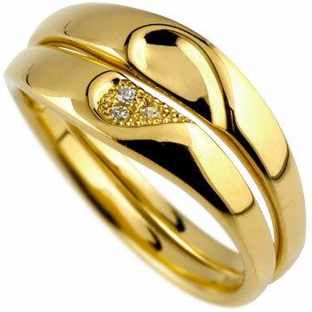 【送料無料】ペアリング ダイヤモンド 結婚指輪 マリッジリング ハート イエローゴールドk18 ミル打ち 結婚式 18金 ダイヤ ストレート カップル ブライダル結婚指輪 シンプル結婚指輪 人気結婚指輪 ペア シンプル 2本セット 彼女 結婚記念日