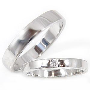 【送料無料】ペアリング 結婚指輪 マリッジリング 一粒 ダイヤモンド ホワイトゴールドk18 結婚式 18金 ダイヤ ストレート カップル 贈り物 誕生日プレゼント ギフト