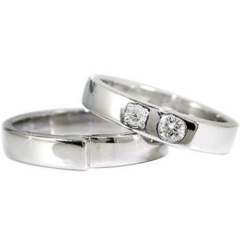 【送料無料】鑑定書付き ペアリング ダイヤモンド 結婚指輪 マリッジリング ホワイトゴールドk18 SI 結婚式 18金 ダイヤ ストレート カップル 贈り物 誕生日プレゼント ギフト
