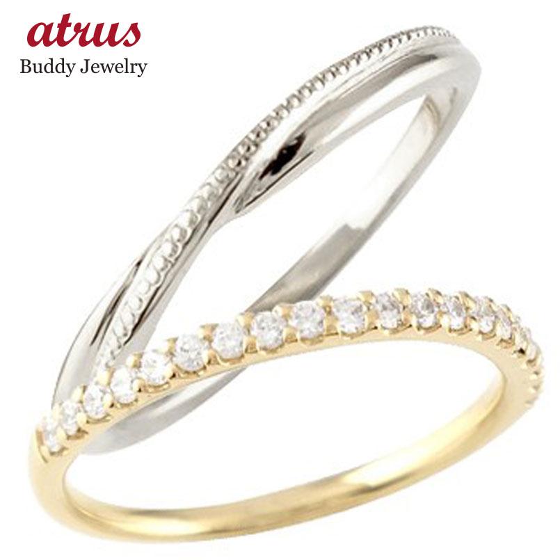 【送料無料】ペアリング 結婚指輪 マリッジリング ハーフエタニティ ダイヤモンド イエローゴールドk10 ホワイトゴールドk10 10金 コンビ 極細 華奢 ストレート スイートペアリィー 贈り物 誕生日プレゼント ギフト