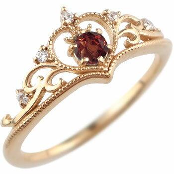 贅沢なデザイン 【送料無料】ティアラ リング 指輪ダイヤモンド ガーネット ミル打ち 1月誕生石 ピンクゴールドk18 18金 ダイヤ ストレート 贈り物 誕生日プレゼント ギフト