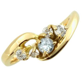 【送料無料】ピンキーリング アクアマリンダイヤモンドリング イエローゴールドk18 指輪 3月誕生石 18金 ダイヤ ストレート 宝石