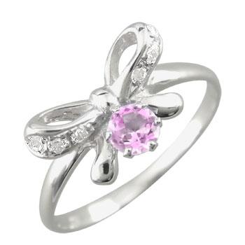 【送料無料】ピンキーリング ピンクサファイア ダイヤモンド リボン プラチナリング オリジナル 指輪 ダイヤ 9月誕生石 ストレート 宝石