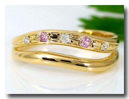 送料別 【送料無料】ピンキーリングダイヤモンドリングピンクサファイアk18指輪 ダイヤ 9月誕生石 ストレート 贈り物 誕生日プレゼント ギフト