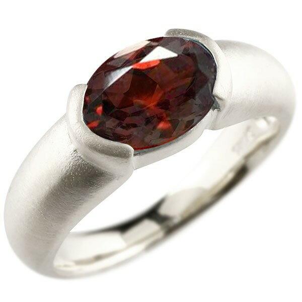【送料無料】新作 ホワイトゴールドk10 大粒 一粒 ガーネット リング ピンキーリング 10金 指輪 婚約指輪 エンゲージリング