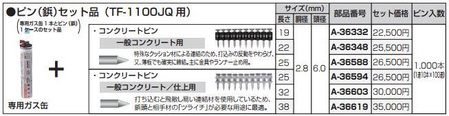 [税込新品]マキタ ピン(鋲)セット品 38×2.8 A-36619 一般コンクリート仕上用 ガス缶+ピン1ケースセット