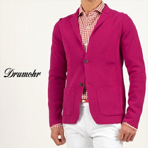 【ドルモア】【DRUMOHR】コットン ミラノリブ シングル ニットジャケット バッカス・レッド