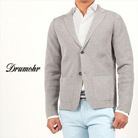 【ドルモア】【DRUMOHR】コットン ミラノリブ シングル ニットジャケット ライトグレー