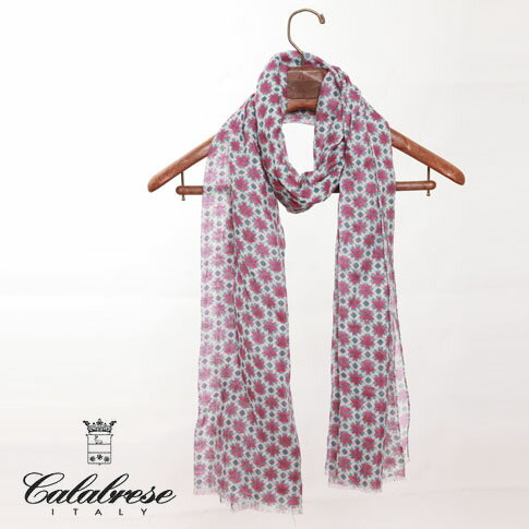 CALABRESE / カラブレーゼ 大判リネンストールフラワープリント 小花柄 ホワイト×ブルー×マゼンタ 2000018-325
