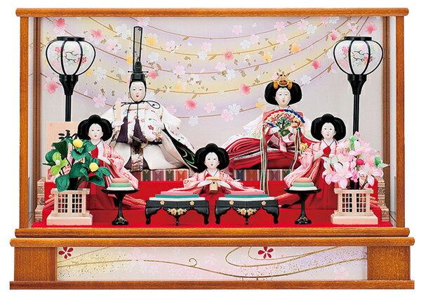 【お顔がきれい】【送料無料】雛人形ケース入り芥子、五人飾り 舞桜No12