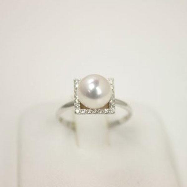 真珠指輪パールリング あこや真珠パール指輪リングアコヤ本真珠7.5mm-8mmホワイトカラーK18WGダイヤ