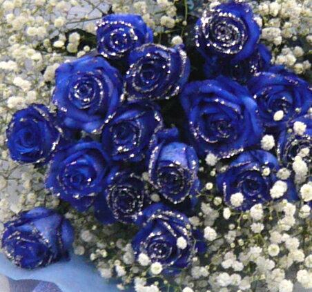 シルバーラメ ブルーローズ 20本&カスミ草ブーケ【smtb-tk】【結婚祝い 花】【誕生日 花】