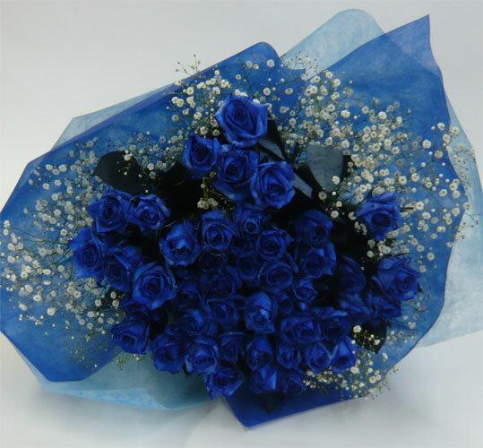 バラの花束/ブルーローズ60本【送料無料】