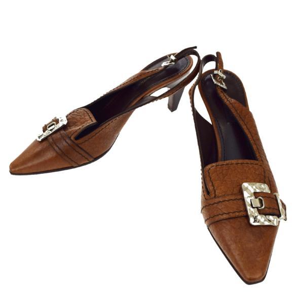 送料無料 【中古】 ルイヴィトン LOUIS VUITTON パンプス 靴 バックストラップ ブラウン レザー 38 25cm 04A016
