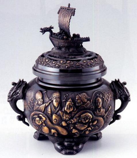 香炉・香立て■ 宝船七福神香炉 ■青銅(ブロンズ)製 【高岡銅器】