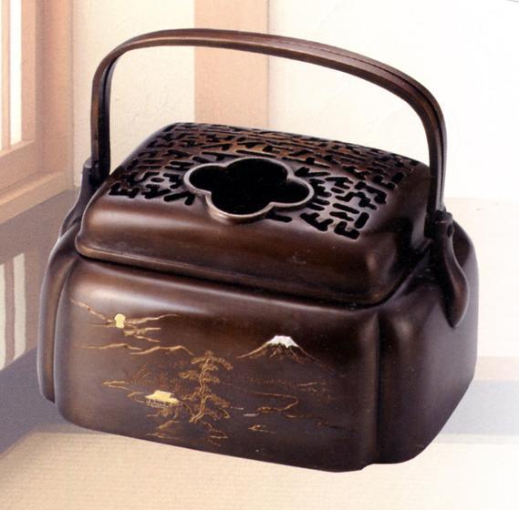 香炉・香立て■ 山水象嵌入 手香炉 ■銅製 紙箱入【高岡銅器】