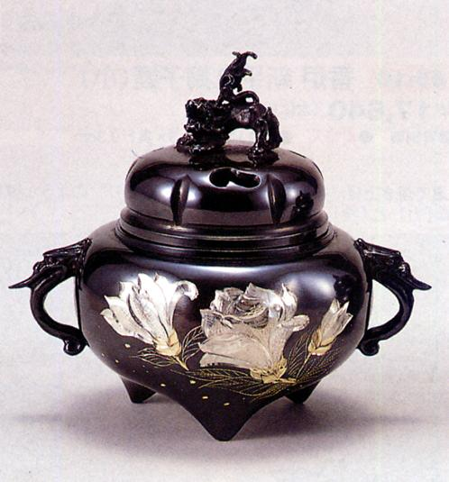香炉・香立て■ 香炉 六間木瓜耳付(彫金) ■青銅(ブロンズ)製 桐箱入り【高岡銅器】