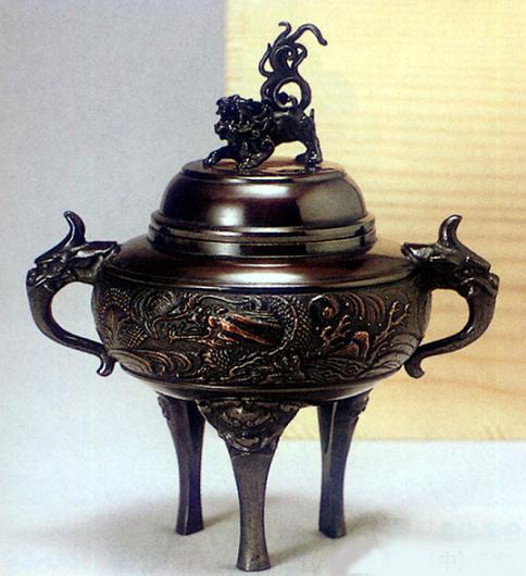 香炉・香立て■ 香炉 竜丸(中) ■青銅(ブロンズ)製 桐箱入り【高岡銅器】