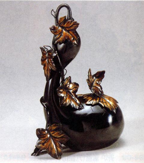 香炉・香立て■ 香炉 ひょうたん型 ■青銅(ブロンズ)製 紙箱入り【高岡銅器】
