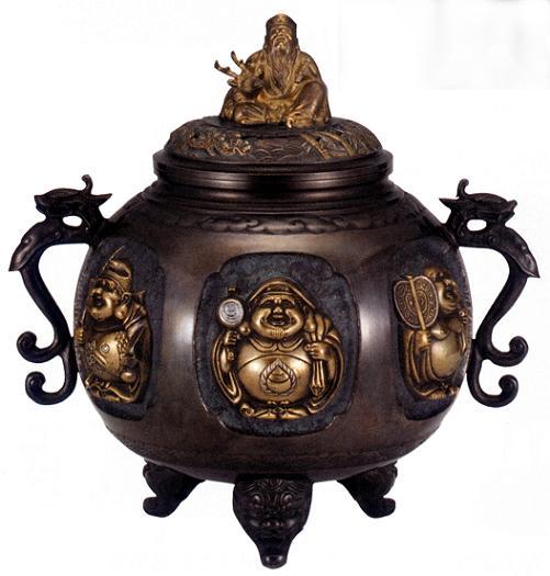 香炉・香立て■ 香炉 特大七福神(さしメッキ) ■青銅(ブロンズ)製 紙箱入り【高岡銅器】
