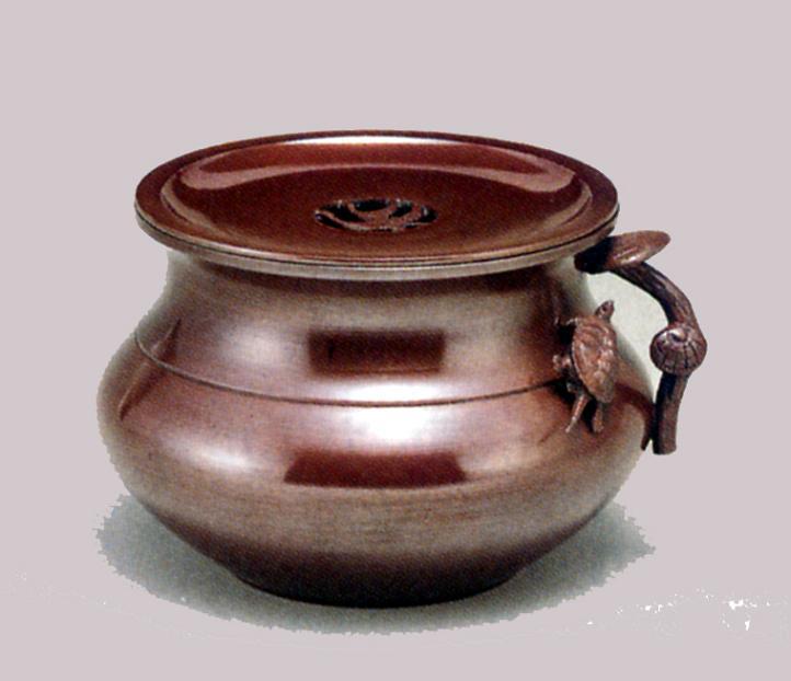 茶器・茶道具■ 建水 福型(霊芝に亀)(蓋付) 小 ■瑞峰作 青銅(ブロンズ)製 紙箱入【高岡銅器】