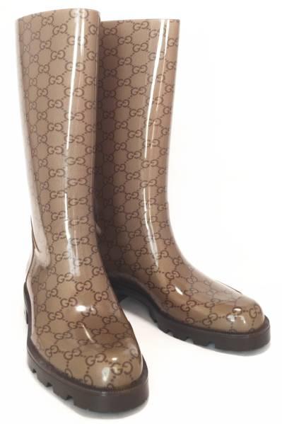 未使用 グッチ レインブーツ 38 長靴 GG ベージュ GUCCI レディース ブラウン GG柄 ラバーブーツ 雨靴 靴 【中古】