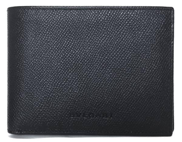 未使用 ブルガリ 札入れ 二つ折り 札入 レザー 型押し ブラック 黒 メンズ 20817 財布 BVLGARI 二つ折り財布 型押しレザー 紳士 ロゴ 【中古】