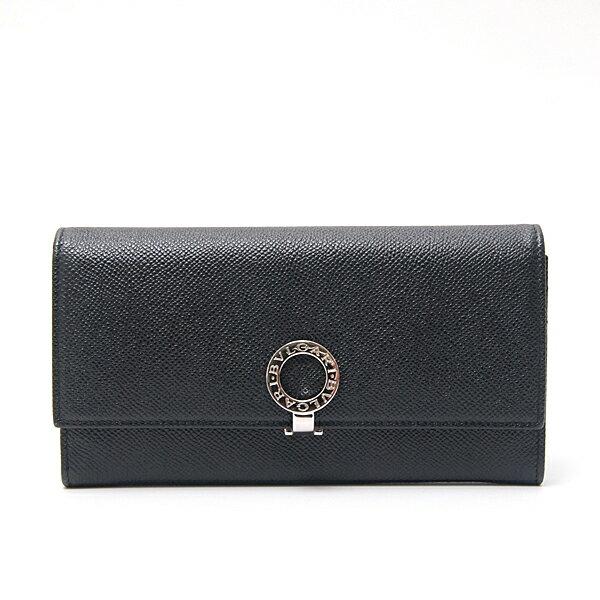 ブルガリ/BVLGARI/金具付きフラップ付き 2つ折り長財布 型押しカーフ ブラック【中古】