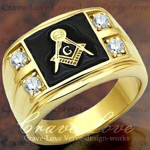 【メンズリング 男の指輪 メンズアクセサリー】フリーメイソン シンボル ギルド メンズ リング FR7 指輪 秘密結社 メソニック | K18 ゴールド カラー | ファッション リング ジュエリー 大きいサイズもあります。【 Crave-Love Bijoux Paris 】