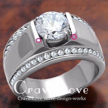 【 訳あり商品 わけあり商品 理由あり B級品 】【 OA623 】 豪華デザイン メンズ ステンレス リング   指輪   RM19 キュービックジルコニア(ダイヤモンド色)  幅広   男性   【 サイズ 23.5号 】 【 Crave-Love Jewelry bijoux Paris 】