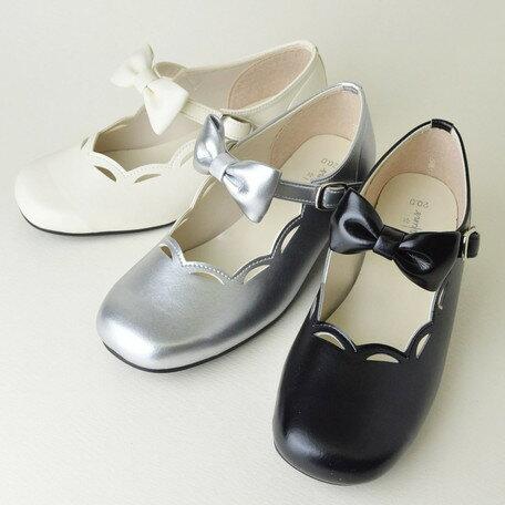 女の子靴 キッズ 子供靴 スカラップ リボン フォーマルシューズ フォーマル シューズ 入園 入学 卒園 卒業 日本製 国産品 靴 子供用 女の子