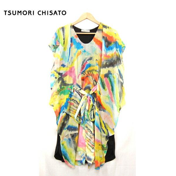 【TUMORI CHISATO】ツモリチサト フリルドワンピース  サイズ2  シルク×ウール ディープフォレスト【中古】
