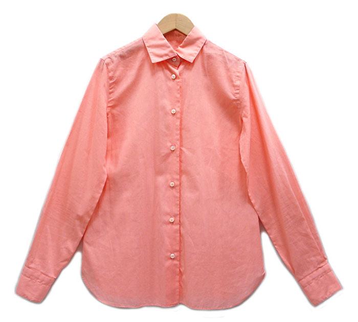 【BARBA】バルバ リネン混 ロングスリーブ シャツ ピンク サイズ42イタリア製【中古】