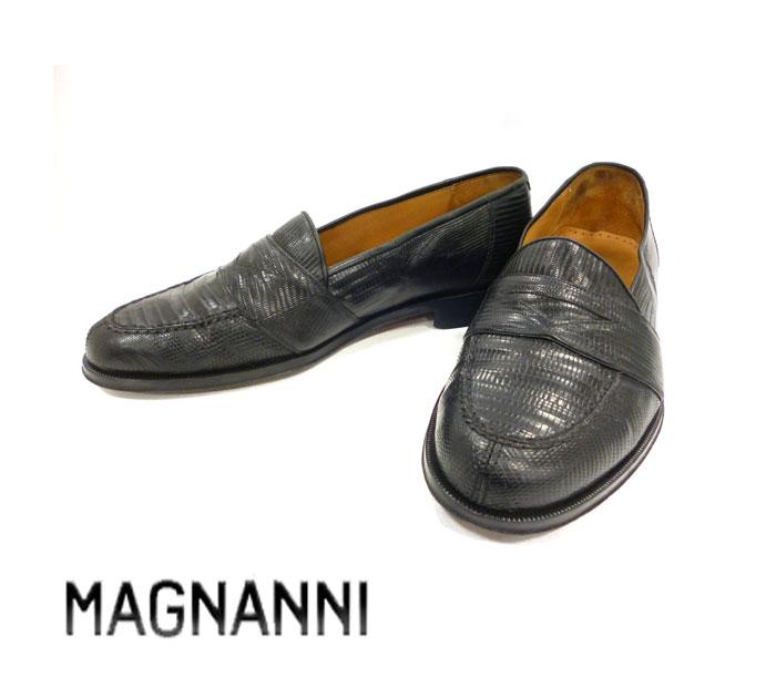 【MAGNANNI】マグナーニ 靴  リザードレザー コインローファー  シューズ カジュアル ブラック サイズ8 2/1 RC004【中古】